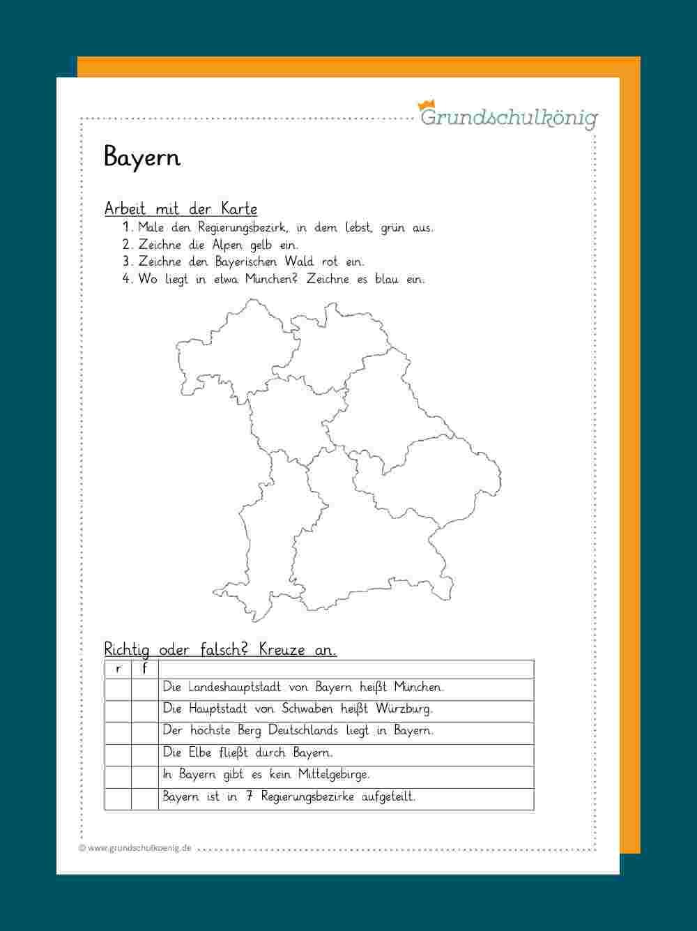 Bayern arbeitsblatt karte Stumme Karte