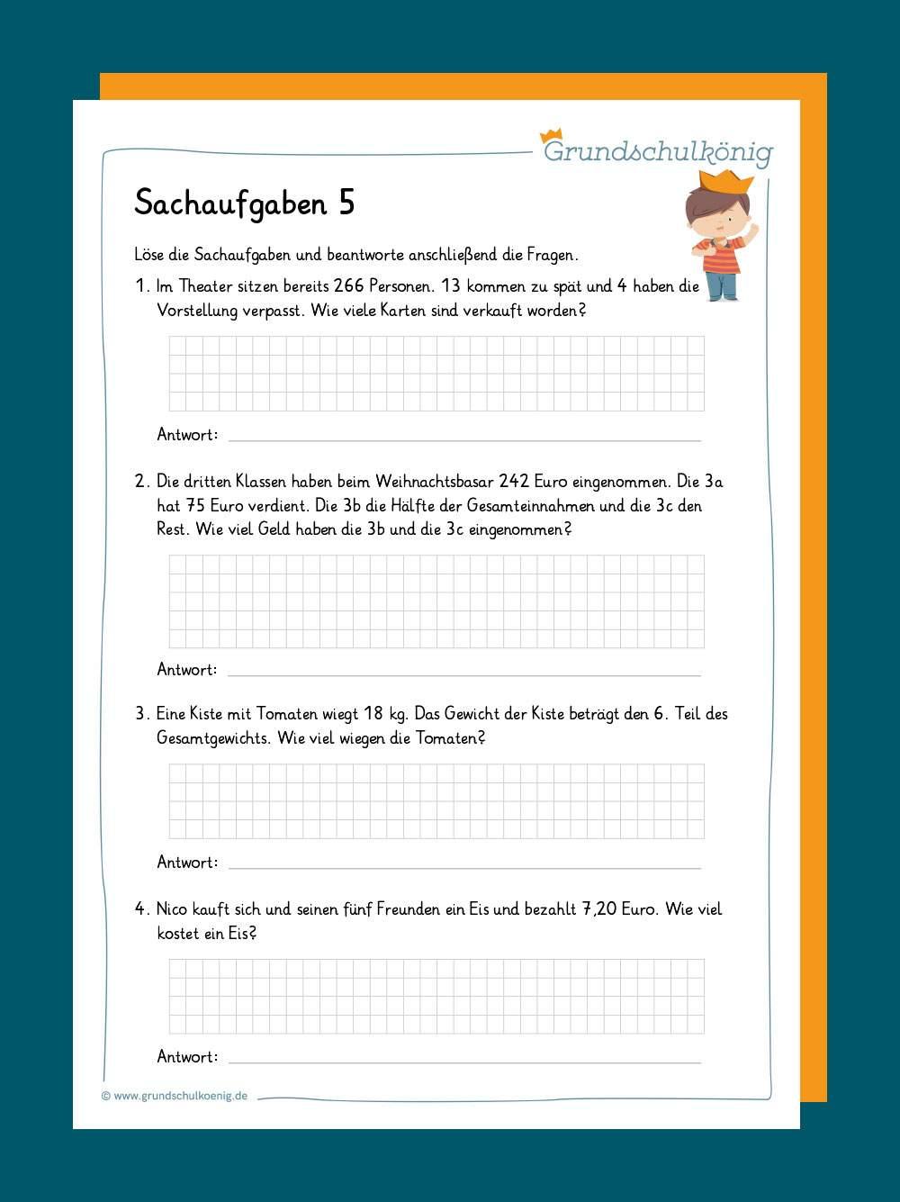 Sachaufgaben Textaufgaben 4