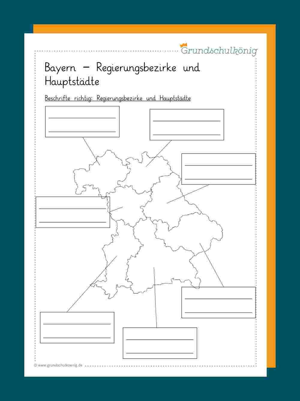 Regierungsbezirke Bayern Karte Mit Hauptstädte