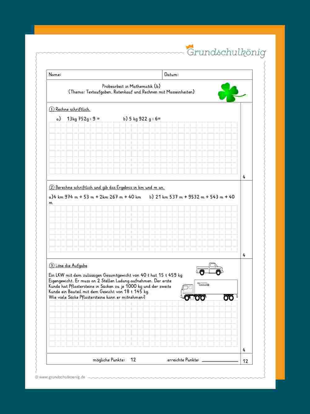 Klassenarbeiten Proben Mathe 4 Klasse