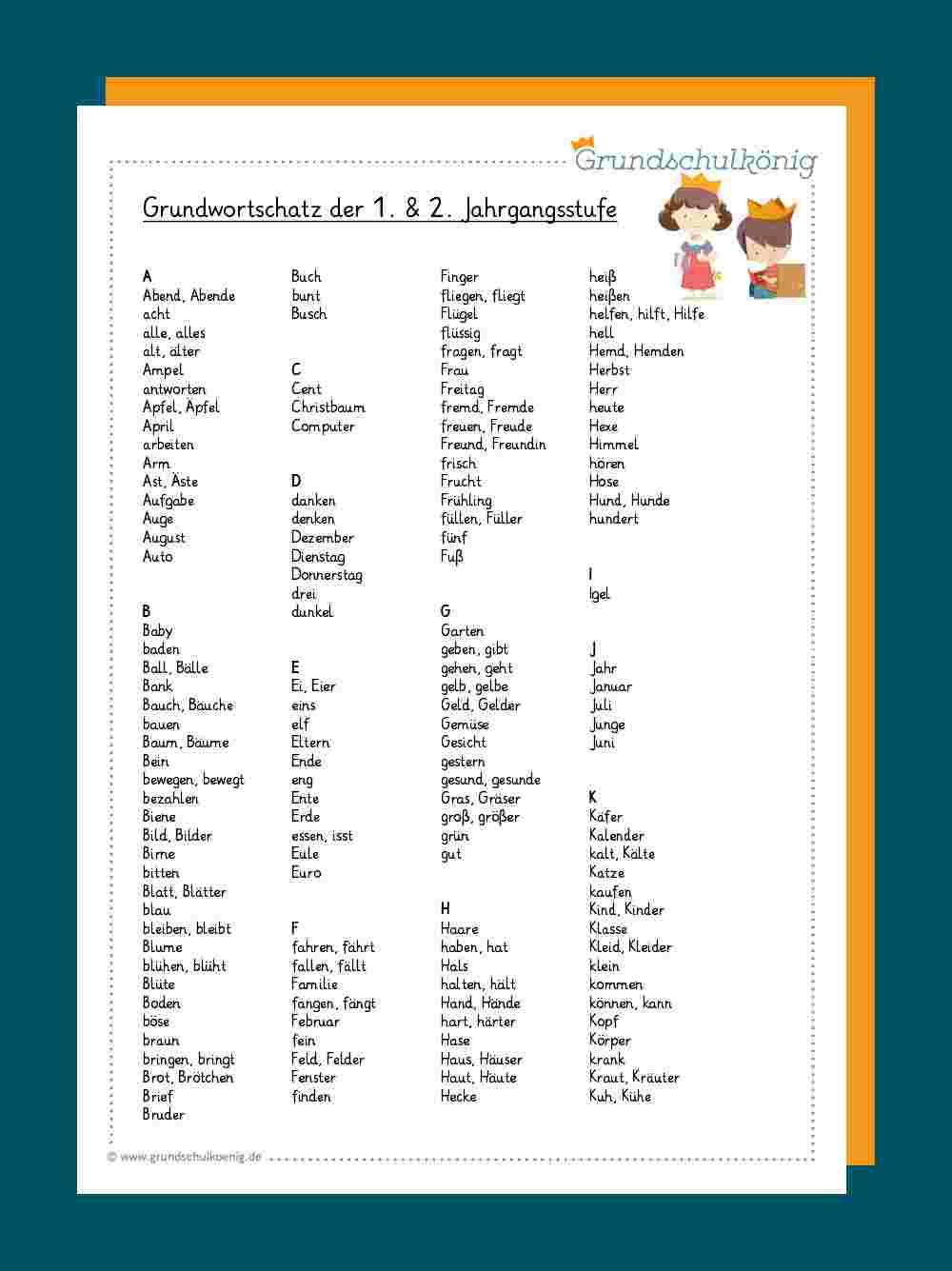 Grundwortschatz Klasse 200 und 20