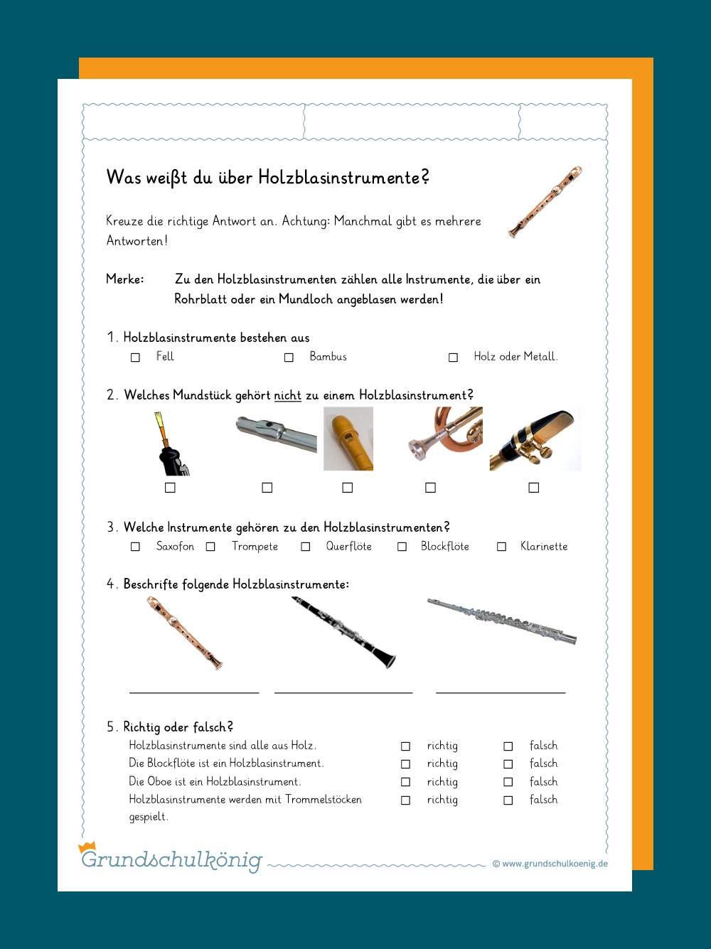 Instrumente kennenlernen - Unterrichtsmaterial zum Download