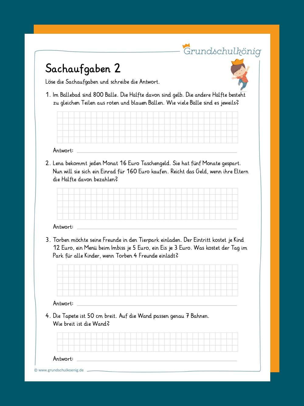 Sachaufgaben Textaufgaben 2