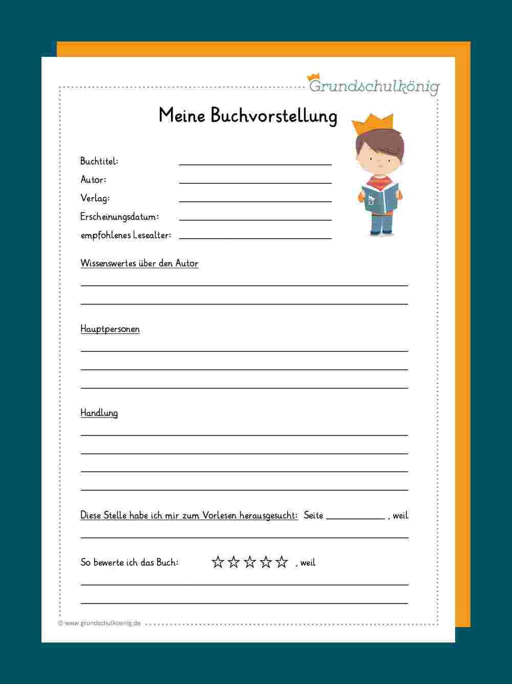 7 Buchvorstellung Grundschule Ideen Buchvorstellung 1