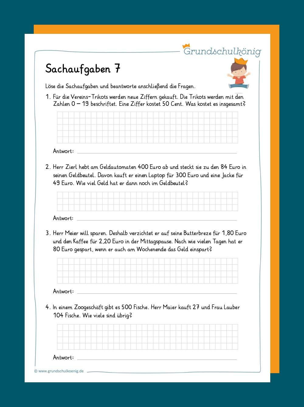 Sachaufgaben Textaufgaben 2 8