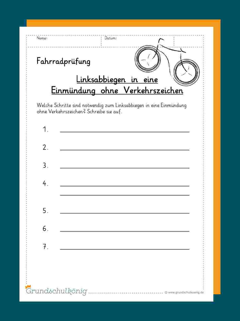 Arbeitsblätter und Übungen zur Fahrradprüfung / Radfahrprüfung