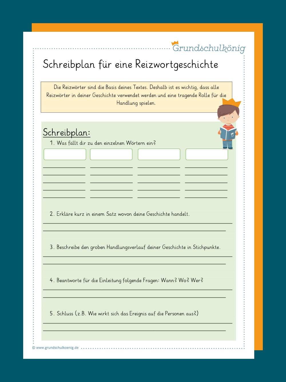Deutsch Arbeitsmaterialien Erzahlung Reizwortgeschichte 2