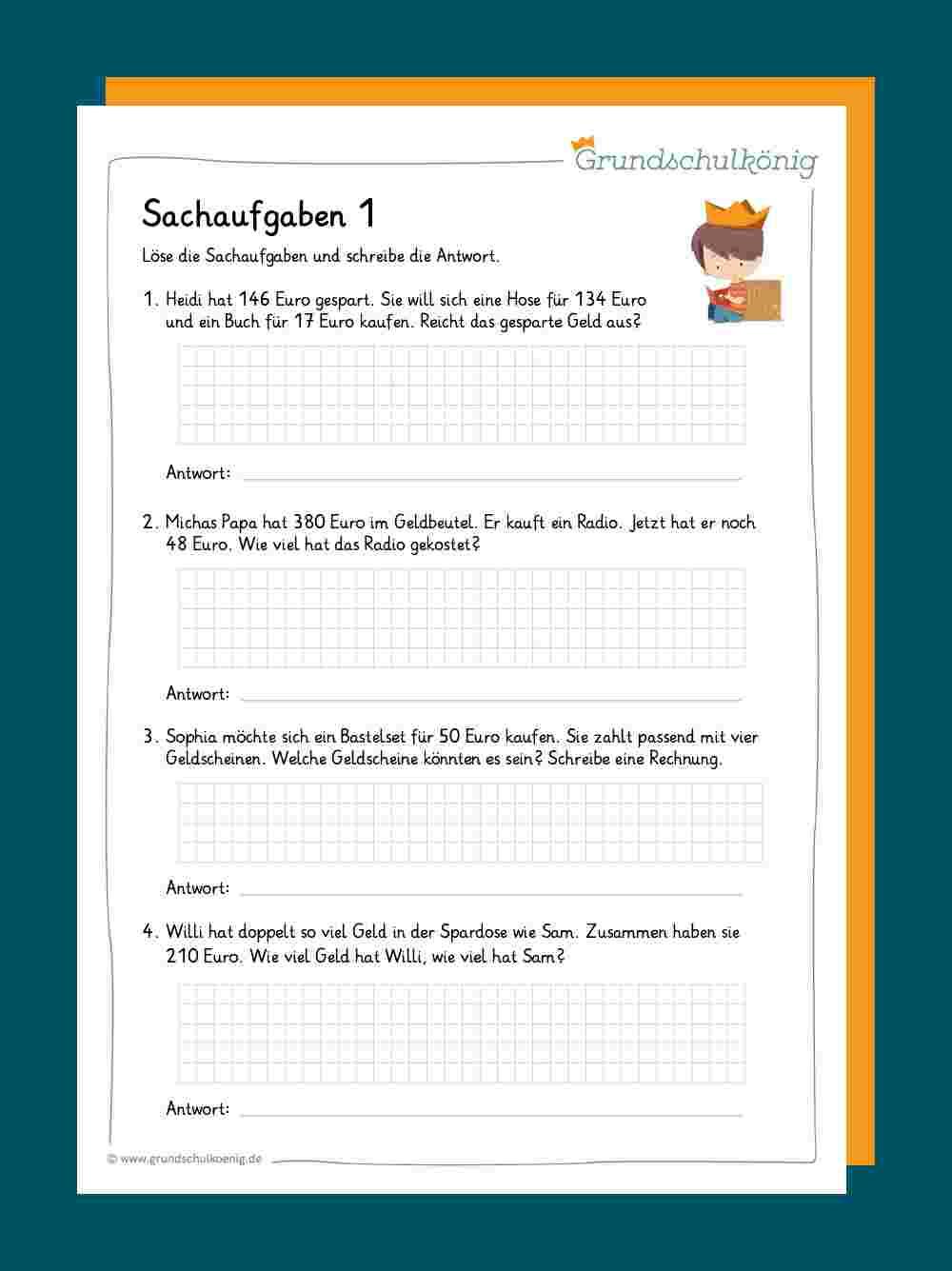 Sachaufgaben Textaufgaben 15